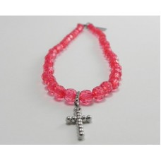 AngelCo Clear Shaped Bright Pink Necklace