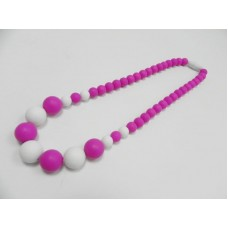 AngelCo Pink and White Silicone Necklace