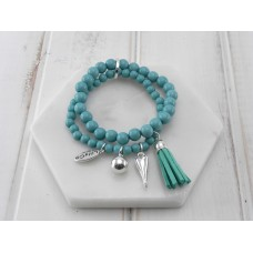 2 Rows of Turquoise Beads With Tassel and Heart Bracelet