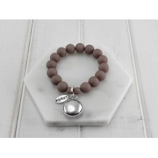 Grey Beads With Silver Disc Bracelet