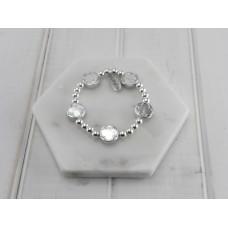 Silver Beads and Silver Flower Beads Bracelet