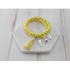 2 Rows of Yellow Beads With Tassel and Heart Bracelet