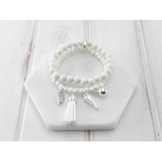 2 Rows of White Beads With Tassel and Heart Bracelet