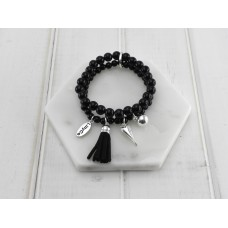 2 Rows of Black Beads With Tassel and Heart Bracelet