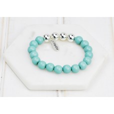 Turquoise and Silver Bead Bracelet