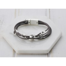 Brown Leather & Silver Bracelet