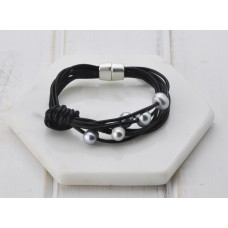 Black Leather & Pearl Bracelet