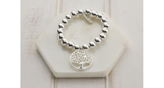 Mixed Rose Gold & Silver Large Tree Of Life Bracelet