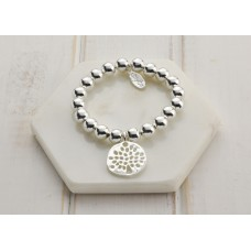 Silver Tree Of Life Bead Bracelet