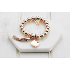 Rose Gold Disc & Tassel Bracelet