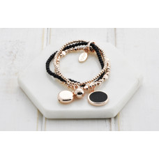 Rose & Black Disc Bracelet