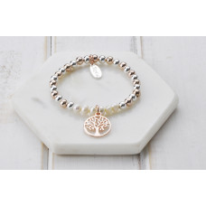 Rose and Silver with Pearl Tree Of Life Bracelet