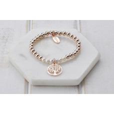 Rose Gold with Pearl Tree Of Life Bracelet