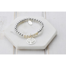 Silver with Pearl Tree Of Life Bracelet