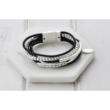 Matt Silver Beads & Bling Black Leather Bracelet