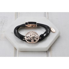 Rose Gold Tree with Leather Bracelet