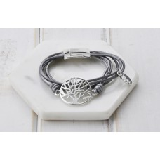 Silver Tree with Leather Bracelet