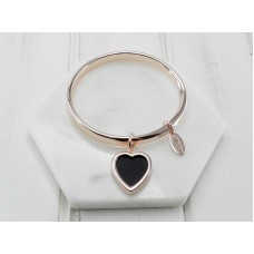 Rose Bangle with Black Leather Heart Bangle