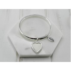 Silver Bangle with White Leather Heart Bangle