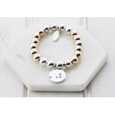 Mixed Silver & Rose Gold Disc Crystal Bracelet- in a Box