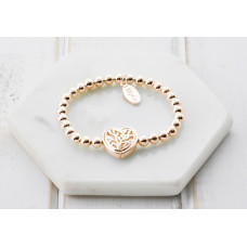 Rose Gold Heart Pendant Bracelet