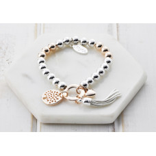 Mixed Rose Gold & Silver Tree Tassel & Crystal Bracelet