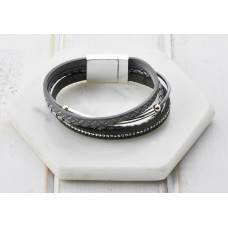 Grey Leather/ Silver Bracelet