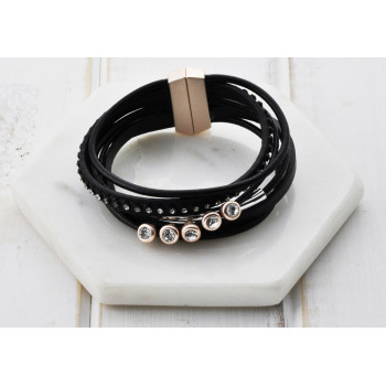 Black Leather Rose Disc Bracelet