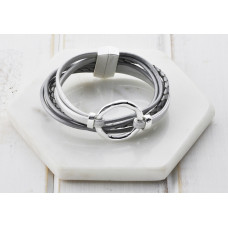 Grey Leather Silver Ring Bracelet