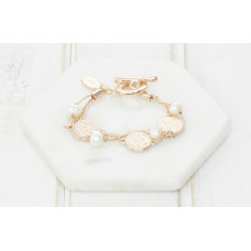 Rose 2 Layer Disc/Pearl Bracelet