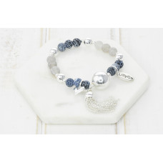 Blue Mixed Bead and Ball Bracelet