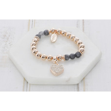 Rose Gold & Agate With Heart Bracelet