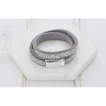 Grey Leather & Crystal Bracelet