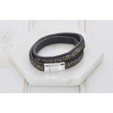 Dark Grey Leather Crystal Bracelet