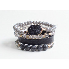 Black Large Crystal & Leather Bead Bracelet