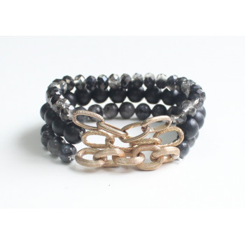Black Bead & Chain Bracelet