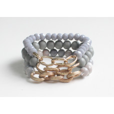 Grey Bead & Chain Bracelet