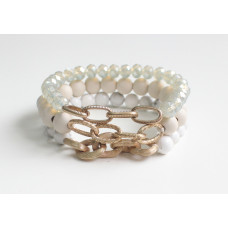 White Bead & Chain Bracelet