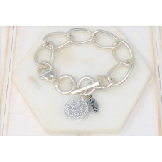 Silver Chunky Chain Coin Bracelet