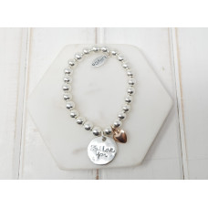 "Silver 'PS I Love You""' Rose Heart Bracelet"
