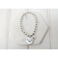 "Silver ''PS I Love You""' Silver Heart Bracelet"