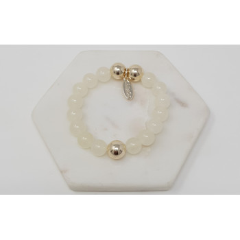 White & Gold Bead Bracelet