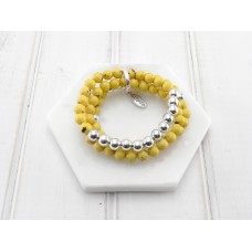 Yellow and Silver Bead Bracelet