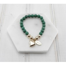 Emerald Green and Gold Heart Bracelet