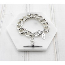 Chunky Silver Fob Chain With TBar Bracelet