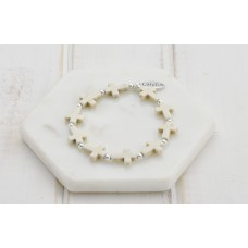 Cream Cross Bracelet