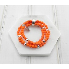 Orange and Silver Beads Bracelet