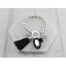 Black Tassel, Crystal and Acrylic Disc Bracelet