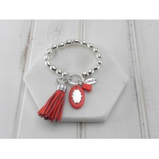 Orange Tassel, Crystal and Acrylic Disc Bracelet