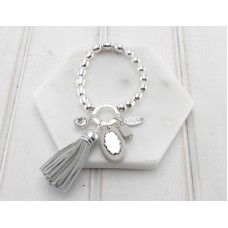 Cream Tassel, Crystal and Acrylic Disc Bracelet